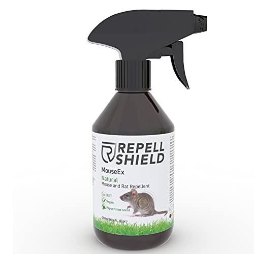 RepellShield - Anti Mäusespray als Tierabwehspray zum Mäuse vertreiben, Als Alternative zu Mäuseködern mit Pfefferminzöl, Anti Mäuse Spray ideal als milde Mäuseabwehr, Mäuse Weg, Maus Garten 250m