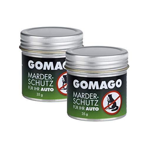 GOMAGO Marderschutz für Ihr Auto 2er Set | Zuverlässige und artgerechte Mardervergrämung durch Duftstoff | Alternative zu Marderschreck, Marderspray, Ultraschall u.ä. | Granulat [2 x 35g]