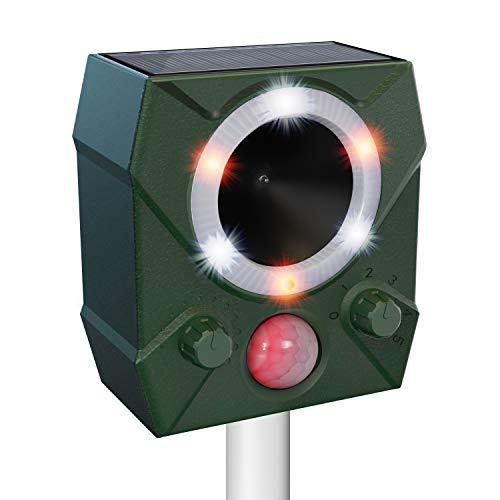 ulocool Katzenschreck Ultraschall, Tierabwehr Solar mit Blitzlicht, Tiervertreiber mit 5 Modus gegen Marder, Katzen, Vögel, Tauben, Hunde, wasserdicht Tierschreck für Garten, Rasen, Bauernho