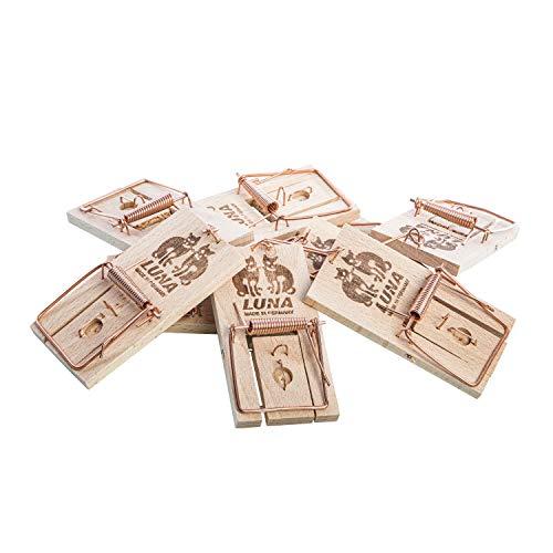 10ner Pack Neustanlo Mäusefallen aus Holz, Schlagfalle, Schnappfalle, Hohe Schlagkraft - Leicht zu verwend