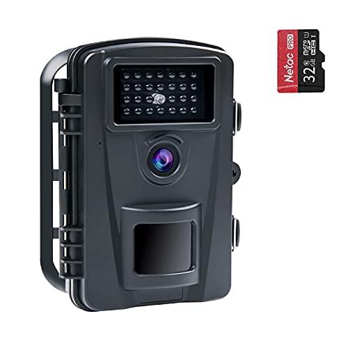 COOLIFE 16MP 1080P HD Wildkamera Fotofalle IP66 Wasserdicht Jagdkamera 940nm IR LEDs Nachtsicht Bewegungsmelder 0,2s Schnelle Trigger Geschwindigkeit Nachtsicht Wildkamera mit 32G Speicherkar