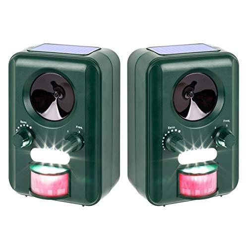 VOSS.sonic Ultraschallabwehr Katzenschreck Tierabwehr im Doppelpack 2000 Ultraschall Abwehr mit Solar + Blitzlich