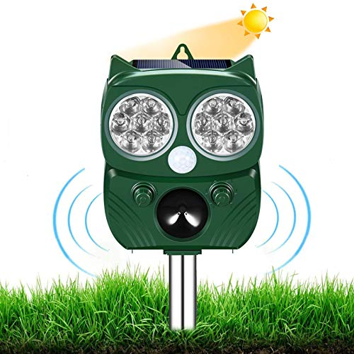 Ultraschall Abwehr mit Solarbetrieb und Blitz gegen Katzen, Hunde, Marder, Tierabwehr, Katzenschreck Hundeschreck Marderschrec