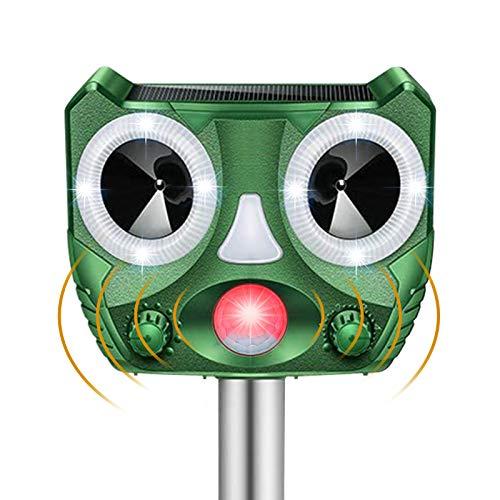 BeauFlw Ultraschall Tiervertreiber,Ultraschall Abwehr mit Solarbetrieb und Blitz gegen Katzen, Hunde, Marder, Tierabwehr, Marderabwehr vogelabwehr