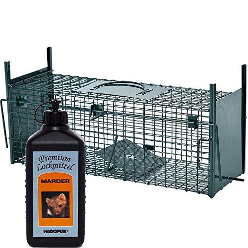 Lebendfalle Secure-M 64 cm + 100 ml Hagopur Marder Lockstoff - zuverlssige & sichere Tierfalle mit 2 Eingngen - sofort einsatzbereit & wetterfest - ideal fr Marder, Kaninchen, Katzen, R