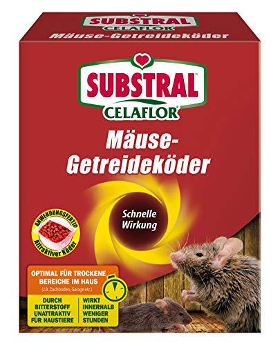 Substral Celaflor Mäuse-Getreideköder, Anwendungsfertiger, attraktiver Köder zur Bekämpfung von Mäusen mit Wirkstoff, 10 x 10 g Portionsbeu