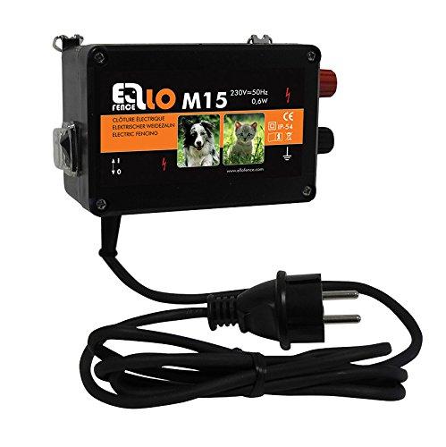 Ellofence Weidezaungerät/Elektrozaungerät M15 - Extrem leise! - Abwehr gegen Hunde, Katzen und andere Kleintiere, 230V