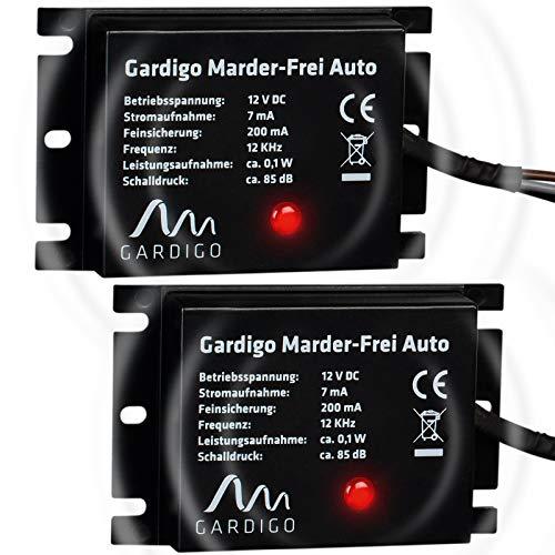 Gardigo Marderschreck Auto 2er Set I Marderschutz für KFZ I Leichter Einbau I Anschluss an 12V Autobatterie I Marderabwehr mit Ultrasch