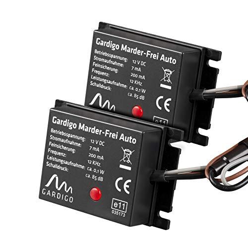 Gardigo Marder-Frei Auto 2er Set I Marderschutz für PKW I KFZ Zubehör I Leichter Einbau I Anschluss an 12V Autobatter