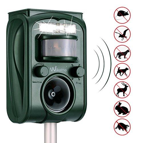 Wikomo Ultraschall Tiervertreiber Solar Tierabwehr Wasserdicht Abwehr Katzenschreck Hundeschreck Marderabwehr vogelabwehr (Weiß)