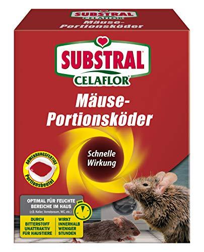 Substral Celaflor Mäuse-Portionsköder, Anwendungsfertiger Köder zur Mäuse-Bekämpfung, 20 x 10 g Portionsbeu
