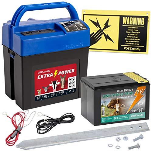 VOSS.farming Weidezaun Set Extra Power9V Elektrozaungerät Starterset mit Batterie Weidezaungerät Mobil Paddock Elektrozaun Rinderzaun Pferdezau