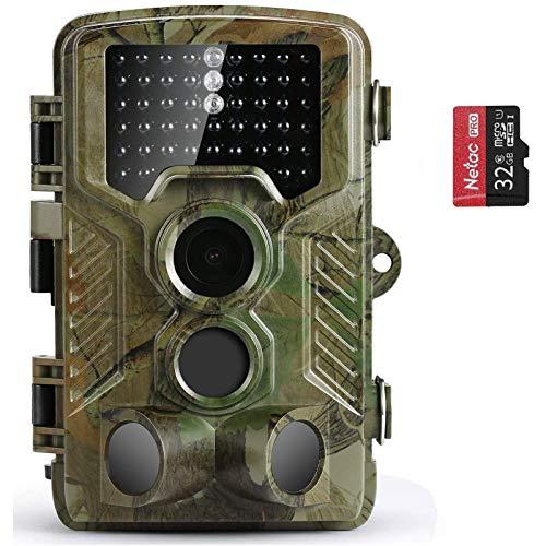 COOLIFE Wildkamera Fotofalle 21MP 1080P HD Jagdkamera Nachtsicht Bewegungsmelder IP67 Wasserdichter& Staubdicht 3-Zonen-Infrarotsensor 125 °Weitwinkel Nachtsichtkamera mit 32G Speicherkar