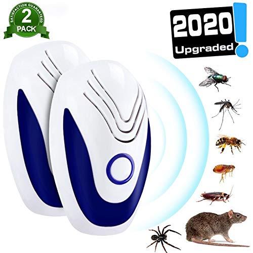 2 PACK Ultraschall Schädlingsbekämpfer, 100% Sicher für Menschen, Mäuse Vertreiben Pest Repeller, Insektenschutzmittel Gegen, Mäuse, Schaben, Insekten, Ameisen, Flöhe, Flieg